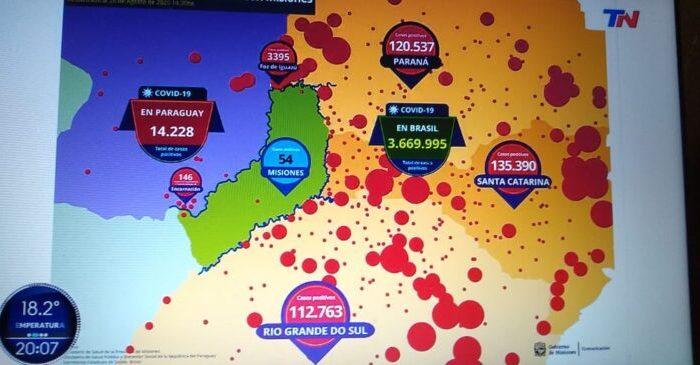Coronavirus: el canal TN destaco la situacion de Misiones, con solo 54 casos confirmado, rodeada por mas de tres millones de infectados entre Brasil y Paraguay