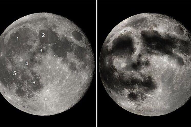 La cara de la Luna: identificacion de mares y recreacion artistica.