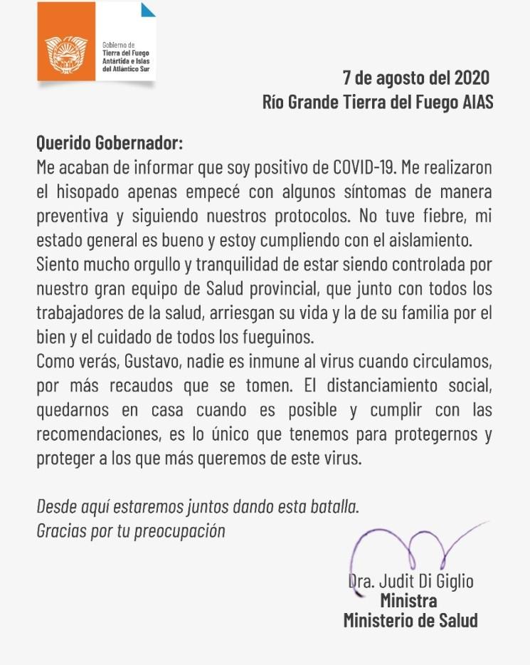 La ministra de Salud de Tierra del Fuego contrajo coronavirus
