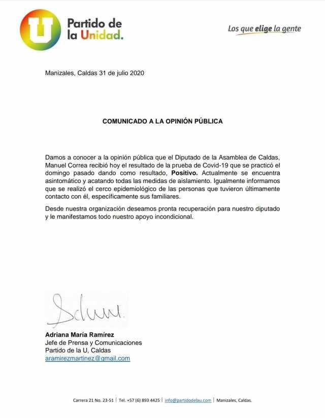 Diputado Manuel Orlando Correa, otro positivo para covid en la Asamblea de Caldas