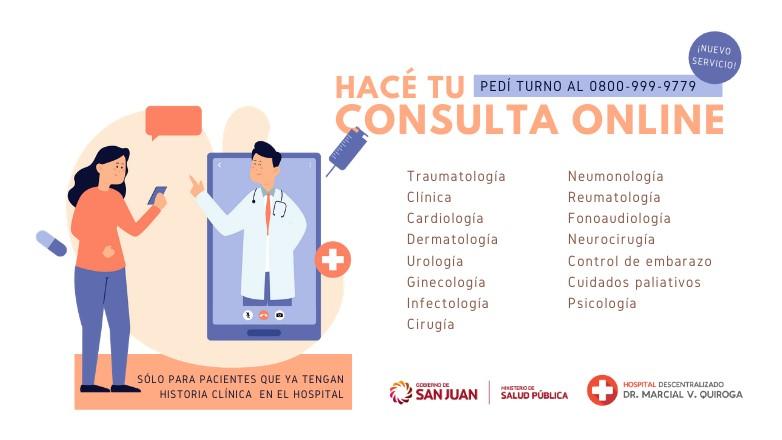 Se podra pedir turno para consulta online en el Marcial Quiroga