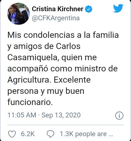 """Cristina Fernandez de Kirchner recordo a Casamiquela como una """"excelente persona y muy buen funcionario"""""""
