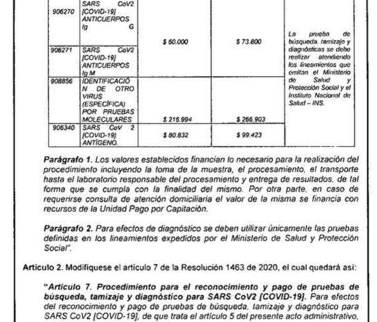 En municipios sin laboratorios el valor de la prueba COVID sera mayor