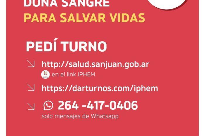 Desde el IPHEM instaron a los sanjuaninos a donar sangre