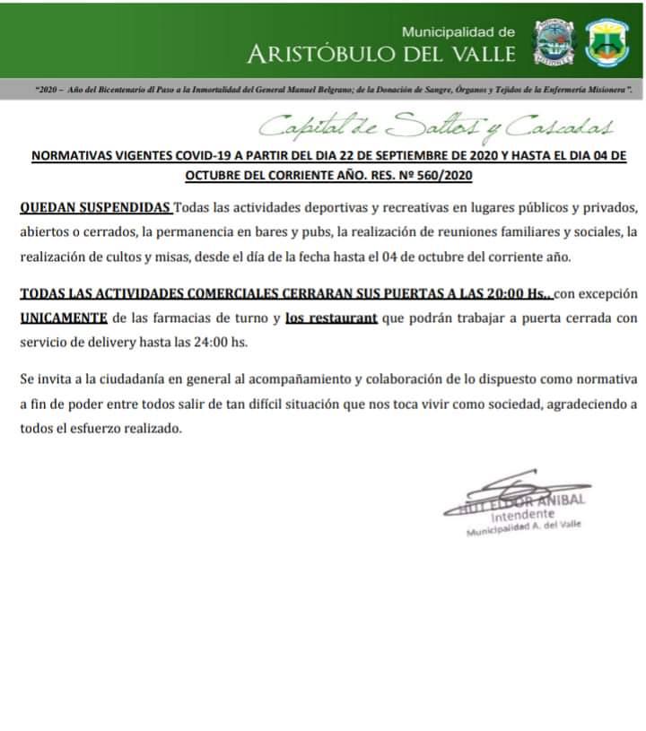 Coronavirus: en Aristobulo del Valle hay 23 personas aisladas y continuaran con actividades restringidas