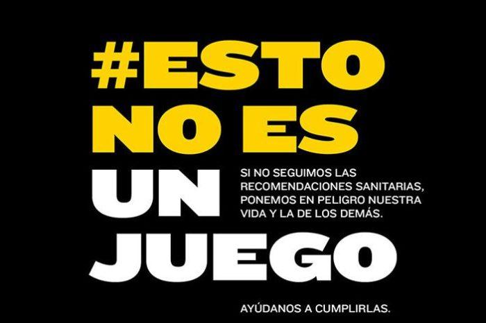 La campaña '#EstoNoEsUnJuego' refuerza el cumplimiento de las medidas contra la covid-19