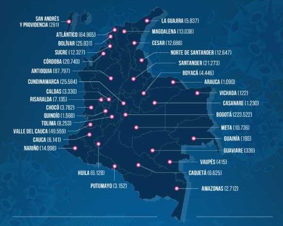 Colombia supera los 500 mil recuperados de covid-19, el 77,1 % de sus casos