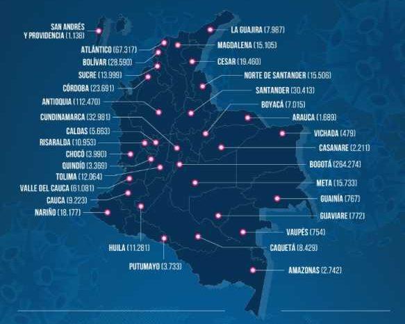 Colombia llega a 813 mil 056 contagios de covid-19 con 7 mil 18 nuevos casos