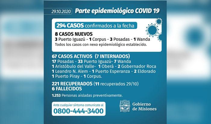 Este jueves se confirmaron 8 casos mas de coronavirus en Misiones y el total llego a 294