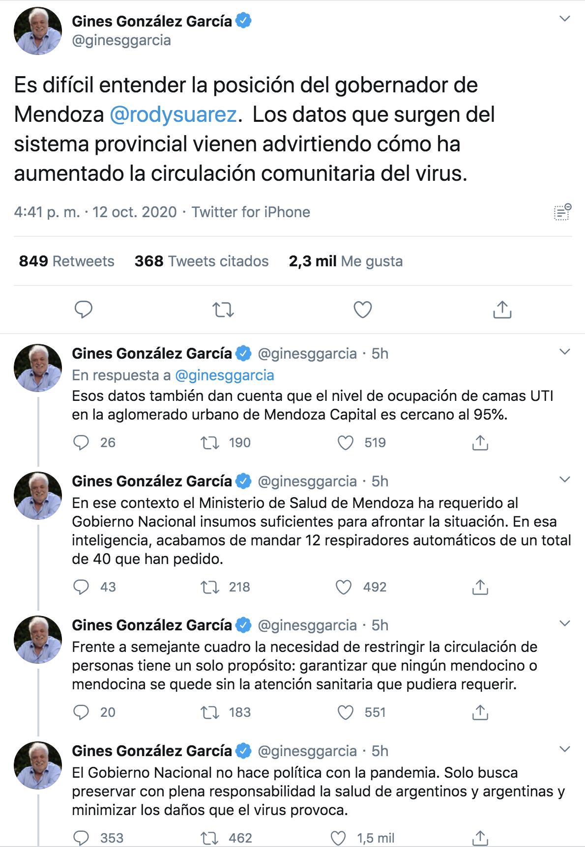 Gines Gonzalez Garcia, sobre la decision de Mendoza: