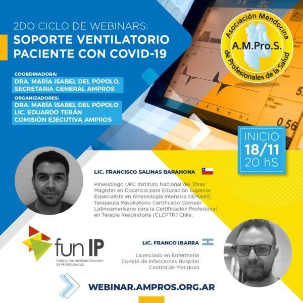"""""""Soporte ventilatorio en pacientes con Covid-19"""", nuevo ciclo de webinars de AMProS"""