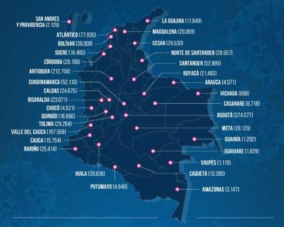 Colombia pasa de 1 millon 300 mil casos de covid-19 y llega a 36 mil 584 muertes