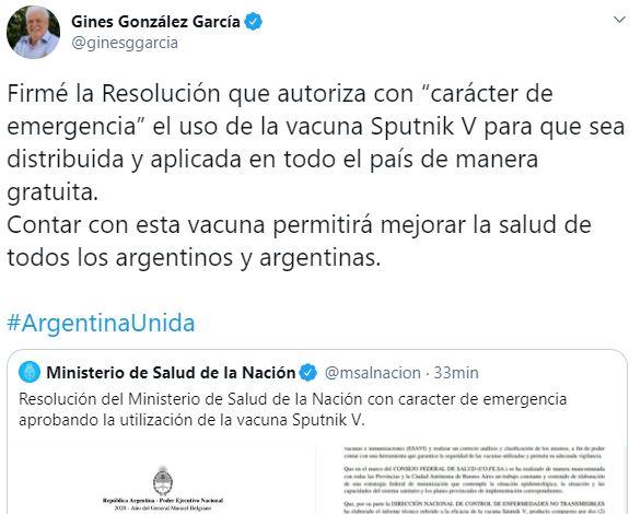 "Coronavirus: autorizan con ""caracter de emergencia"" el uso de la vacuna Sputnik V en Argentina"