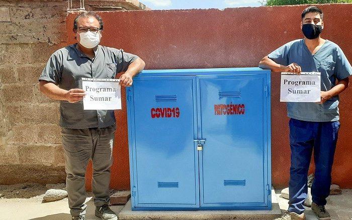 Se instalaron gabinetes de residuos patogenicos en diferentes centros de salud de Valle Fertil