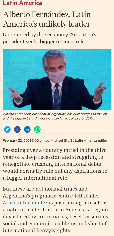 Financial Times: Alberto Fernandez