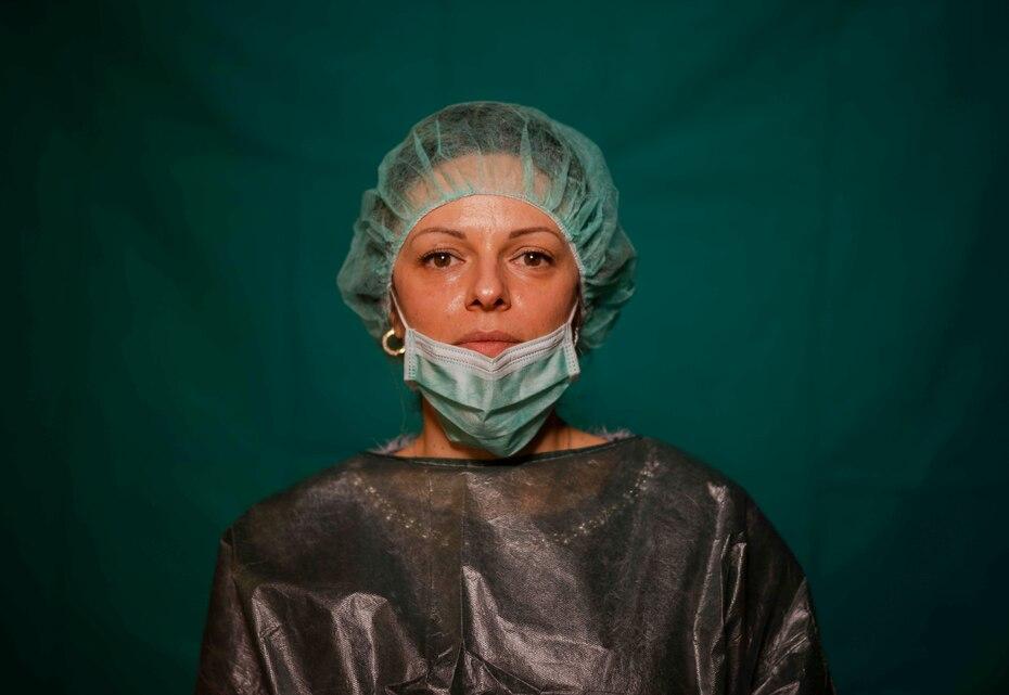 Laura Orsini, de 39 años, trabajadora administrativa del COVID 3 Spoke Casalpalocco Clinic en Roma.