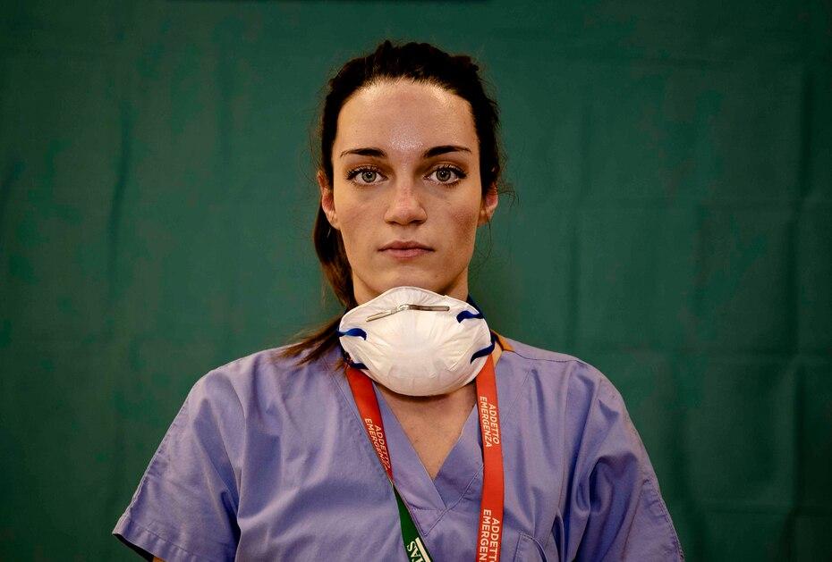 Martina Papponetti, de 25 años, enfermera de la unidad de emergencia del hospital Humanitas Gavazzeni en Bergamo.