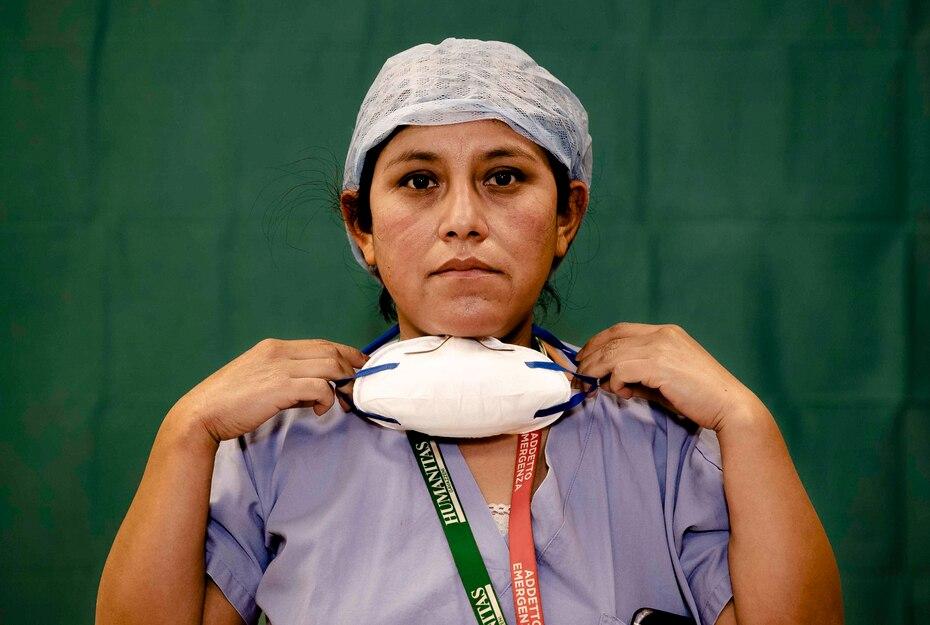 Anna Travezzano, de 39 años, enfermera del hospital Humanitas Gavazzeni en Bergamo.