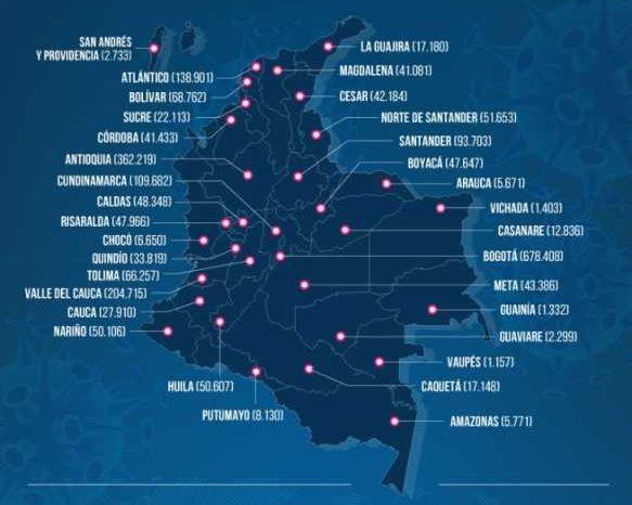 Colombia reporta 5.986 casos nuevos, 1.507 de ellos en el Atlantico