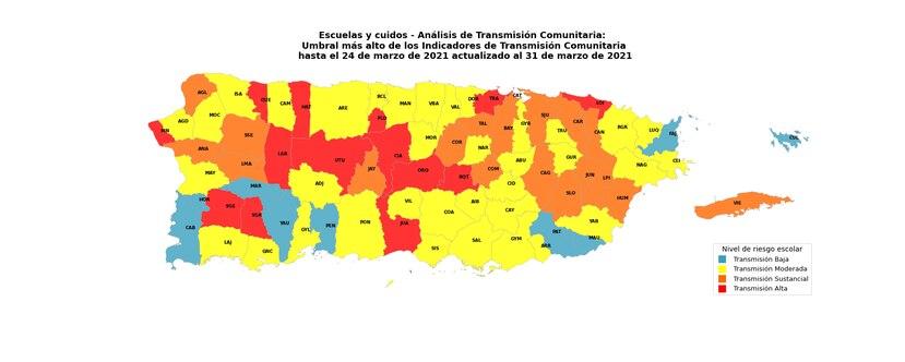 Mapa de transmision comunitaria 2 abril 2021.