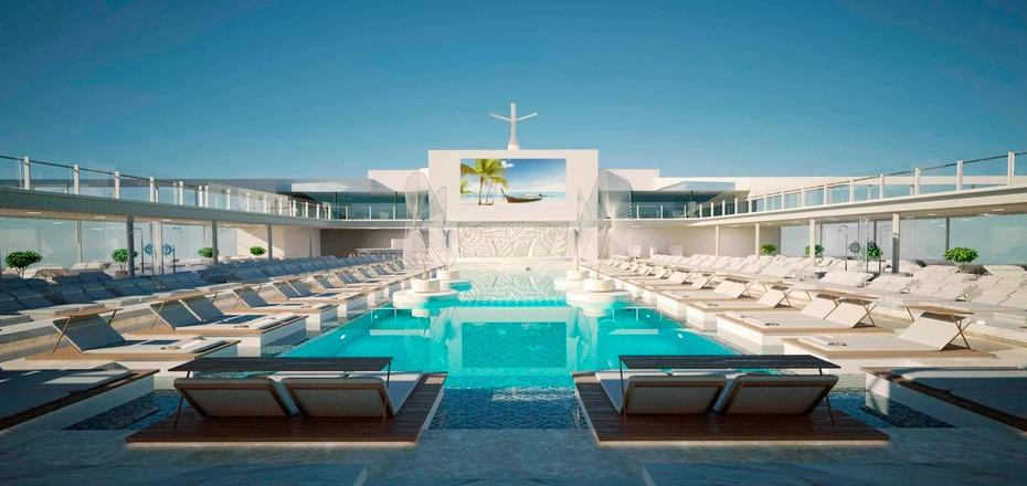 MSC Meraviglia | Pertenece a MSC Cruises y fue lanzado en el 2017. Mide 1,036 pies de longitud y tiene una capacidad para 5,714 pasajeros. Incluye un parque acuatico con grandes chorreras entre sus atracciones. (GFR Media)