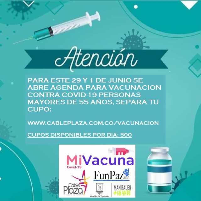 En Cable Plaza abren agenda para vacunacion contra la covid-19 de mayores de 55 años