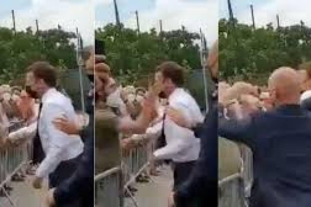(Video) La cachetada que un ciudadano le dio al presidente frances, Emmanuel Macron